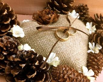 Ring bearer pillow, pine cone wedding, rustic wedding, wedding ring holder, fall wedding, winter wedding