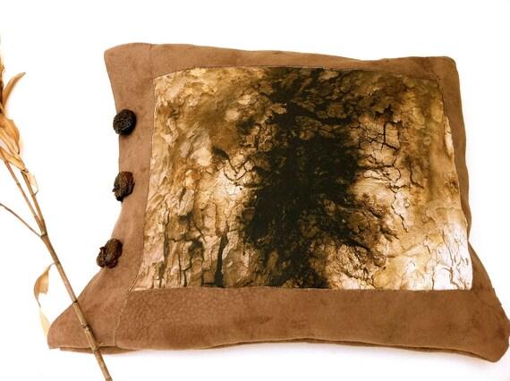 Brown pillow case unique rustic home decor