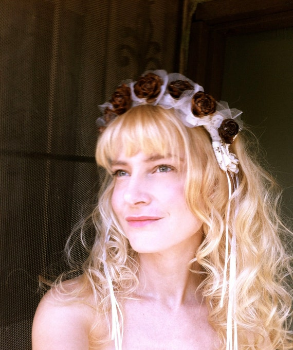 Rustic wedding headband pine cone crown flower bridal head piece forest country weddings