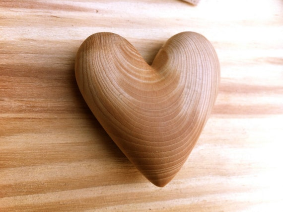 Wooden heart, Woodworking, Lucky Charm, Cedar Wood,  heart carving, wood, pine cone rose, wood carving