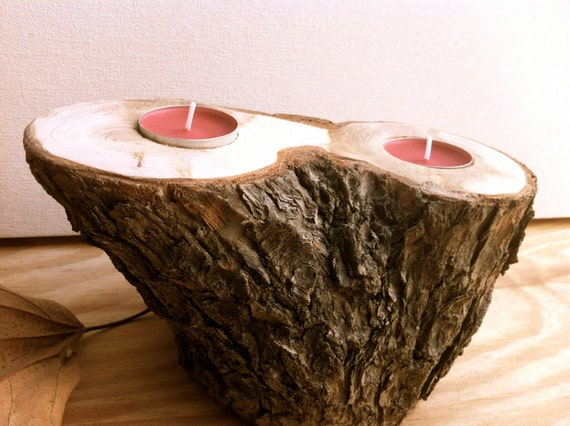 wood candle holder rustic home decor