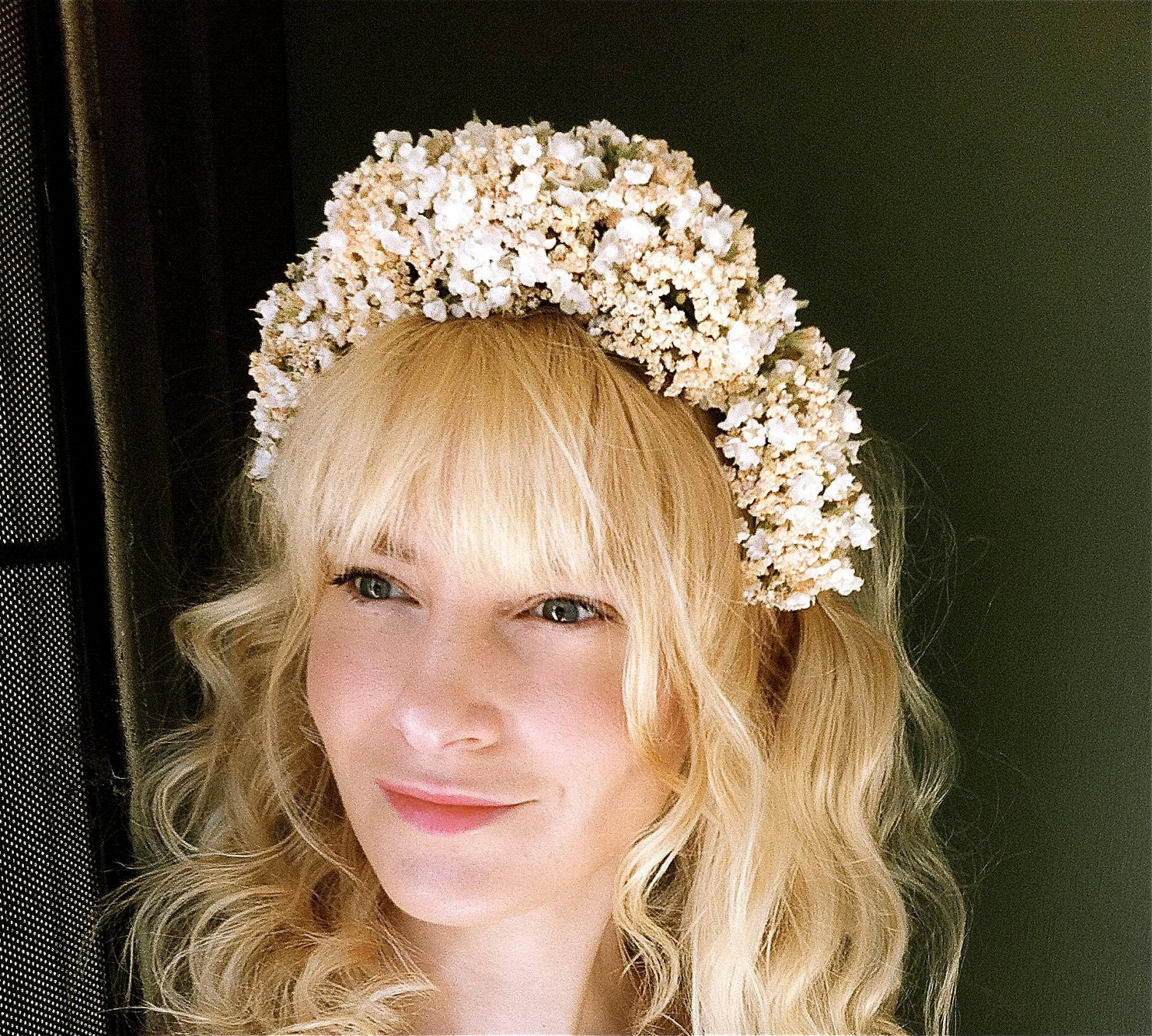 Wedding headband flower crown tiara woodland bridal head hair