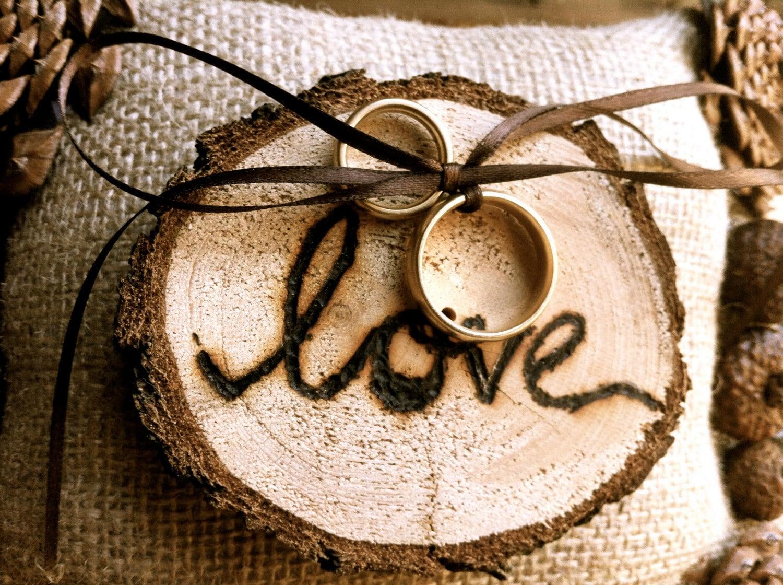 Rustic wedding ring bearer pillow pine cone wedding by for Wedding ring bearer
