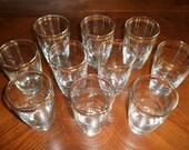 Vintage Set of 10 Libbey BarWare Gold Rimmed Hi-Ball Glasses