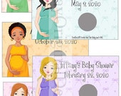 Oh so Pregnant Baby Shower Scratch off Game - caucasian or african american- personalized
