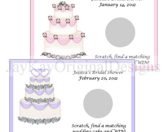 Personalized Wedding Cake Bridal Shower Scratch off Game