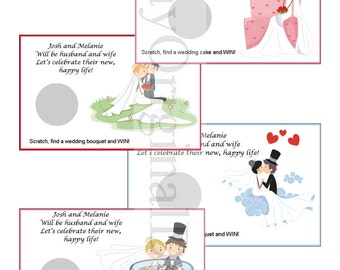 Bride & Groom Personalized Bridal Shower Scratch off Game