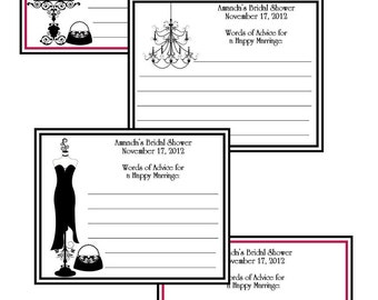 Personalized Bridal Shower Advice Cards - set of 12 cards