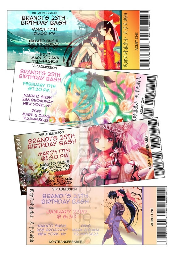 Personalized Japanese Anime Theme Ticket Style Birthday - Birthday invitation in japanese