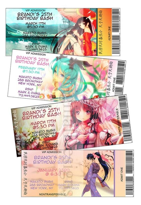 Personalized Japanese anime theme ticket style birthday