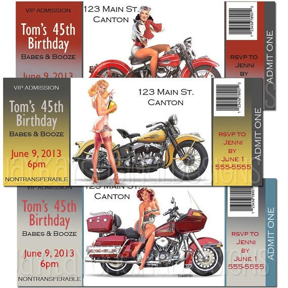 Motorcycle Pin up Birthday Party admit one ticket style – Motorcycle Party Invitations