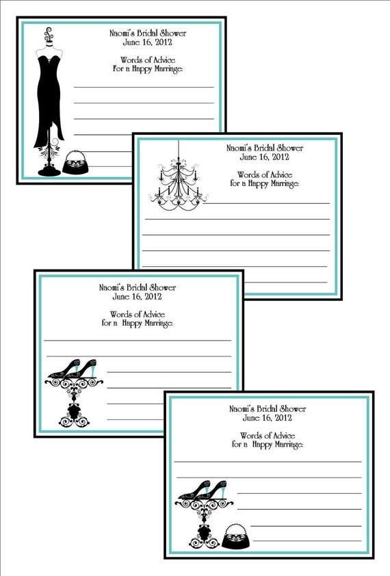 Personalized Bridal Shower Advice Cards, Damask Style - blue & black - set of 12
