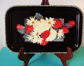 Retro Metal Serving Tray - Floral and Plaid design