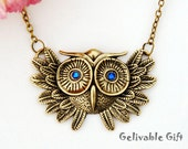Night  Owl Hooters necklace with blue eyes NO02B