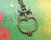 owl necklace,antique brass lover heart belly owl hooters pendant necklace NO19