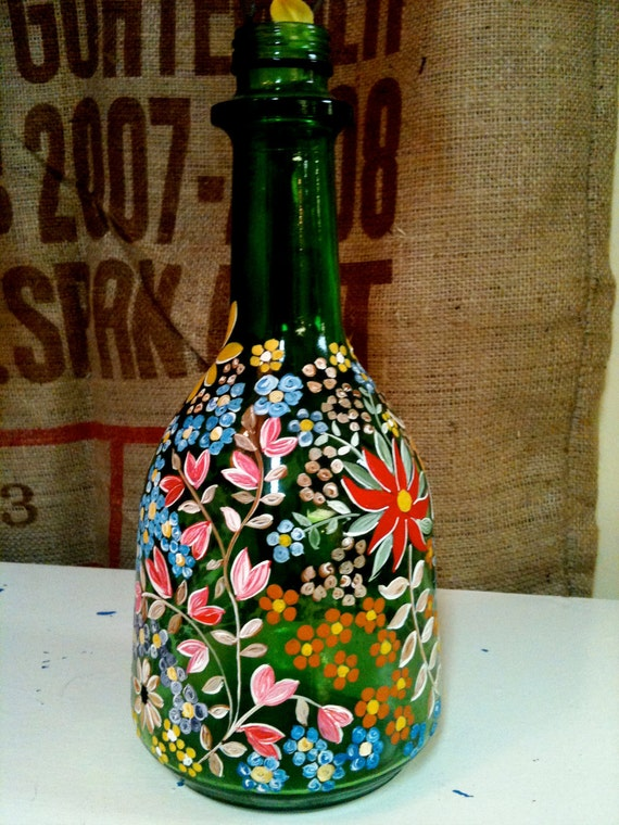 Vintage hand painted green glass bottle vase Painting old glass bottles