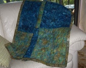One of a Kind Custom Made Blue and Green Batik Quilt Reserved for Barb