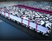 Fuchsia Pink White and Black Wedding Guest Book in Damask print with a personal touch