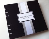 Black Guest Book with YOUR Wedding Colors and Black Pages