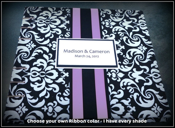 Black and White Damask with Purple Lilac Wedding Guest Book Your Choice of Ribbon Color