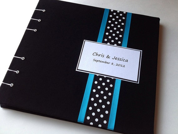 Blue and Black Guest Book with Polka Dots