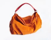 SALE - Leather Hobo Bag Tangerine Suede Shoulder Bag - Bright Orange Summer Bag