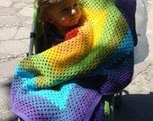 Rainbow Crochet Baby Blanket. Granny Square Afghan. Multicolored Stroller Throw. Baby Shower Blanket Gift. Children Bed Cover