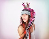UTHA pinkponk hat   .....pink tribal crochet UTHA... ..shaman style hat with horns......summer festival hat..indie fashion