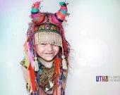 UTHA Little SHAMAN kid's headpiece, children hat, children headdress, crochet children hat