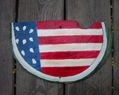 Hand Painted Roof Slate Painting Slice of America Art Flag Watermelon Summer Picnic Decor Decoration Fourth Of July Patriotic