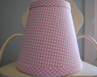 Pink and White gingham chandelier lampshade petite check shade