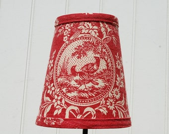 Red Toile Lampshade french toile clip lampshade