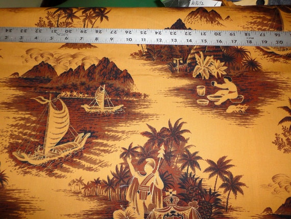 3 Yards Vintage Hawaiian Fabric in Butterscotch w/ Brown Ttopical Scenes