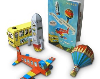 Happy Paper Toys - The Magical Journey - transportation models construction airplane yellow bus spaceship hot air balloon die-cut 3D models