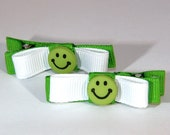 Groovy Smiley Face Clips in Green and White Set of Two