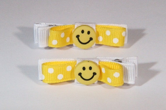 Groovy Smiley Face Clips in Yellow and White Polka Dot Set of Two