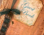 Wedding guest book - vintage shabby chic style, custom