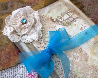Wedding Guestbook - teal and rose pink in vintage shabby chic -Custom