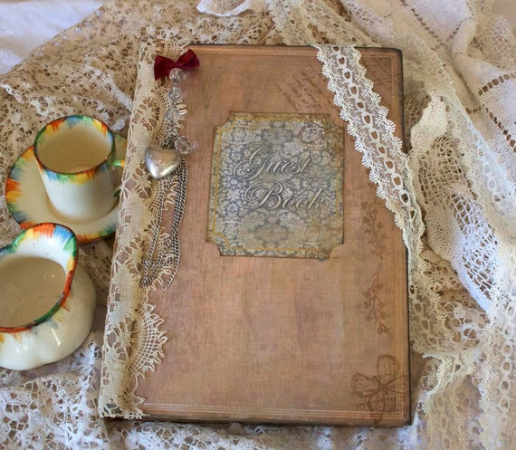 Wedding guest book - vintage shabby chic style, custom and unique to you