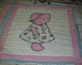VINTAGE .. Pink Bonnet Girl Quilt Squares