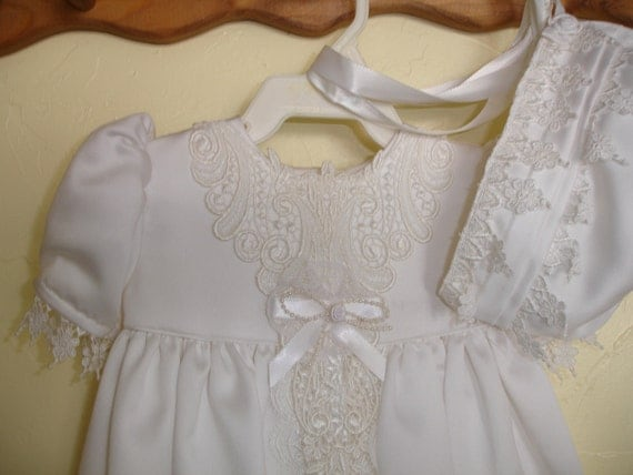 Beautiful Baby Gown and Bonnet