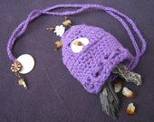 Amulet Bag purple cotton with natural shell, metal & crystal beads. Crocheted wearable keepsake pouch for your crystals, coins, perfume etc