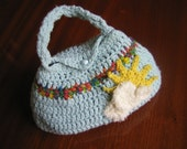 Cute Crochet Handbag / Purse 'Over The Rainbow' Pale Blue with Cloud & Sunshine Motif and satin covered button closure. Kawaii Crochet Bag