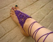 Purple Barefoot Sandals  'Flower Power'  One of a Kind Freeform Crocheted Foot Thongs. Festival, Beach, Fun Decorative Boho Foot Accessories