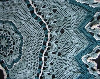 Luxurious, Soft Heirloom Shawl Designed & Crocheted by Lianne in Waves of Aqua/ Teal / Cream. Ideal for Meditation, Prayer, Romantic Strolls