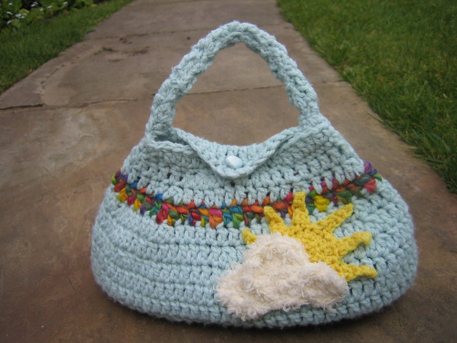 Crochet Rainbow Bag : Cute Crochet Handbag / Purse Over The by BerthasBizarreBazaar