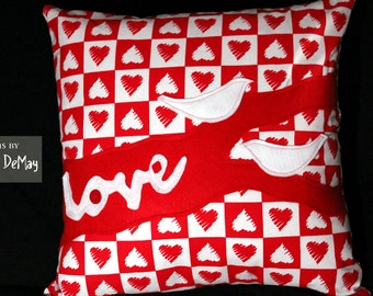 Valentine's Day Love Birds Pillow - Red and White Decorative Pillow Cover