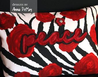 Peace Zebra Print Pillow Cover