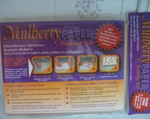 PAPER making KIT & 6 mulberry paper greeting cards and decorative ribbon MULBERRY
