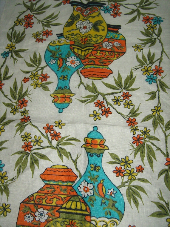 VINTAGE  linen  tea towel FLOWERS VASES color orange, teal, yellow, green